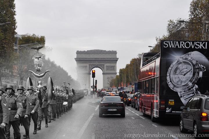 El desfile de los ocupantes en los Campos Elíseos . París, 1940.