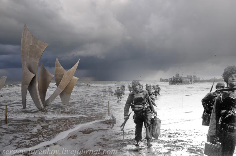 """Día D, 6 de junio de 1944, Normandía. El desembarco de las tropas estadounidenses en la playa de Omaha. Monumento """"Les Braves"""", playa de Omaha, 2010."""
